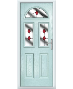 The Glasgow Composite Door in Blue (Duck Egg) with Red Diamonds