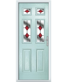 The Oxford Composite Door in Blue (Duck Egg) with Red Diamonds