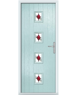 The Uttoxeter Composite Door in Blue (Duck Egg) with Red Diamonds