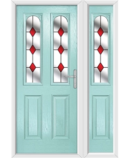 The Aberdeen Composite Door in Blue (Duck Egg) with Red Diamonds and matching Side Panel