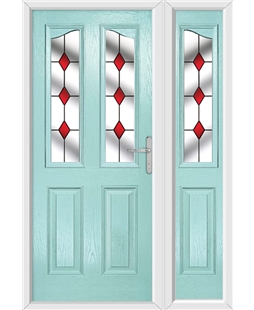 The Birmingham Composite Door in Blue (Duck Egg) with Red Diamonds and matching Side Panel