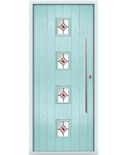 The Leicester Composite Door in Blue (Duck Egg) with Red Fusion Ellipse