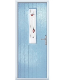 The Sheffield Composite Door in Blue (Duck Egg) with Red Murano