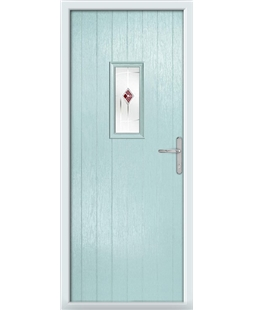 The Taunton Composite Door in Blue (Duck Egg) with Red Murano