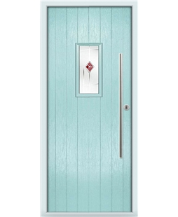 The Zetland Composite Door in Blue (Duck Egg) with Red Murano