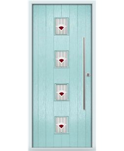 The Leicester Composite Door in Blue (Duck Egg) with Red Murano