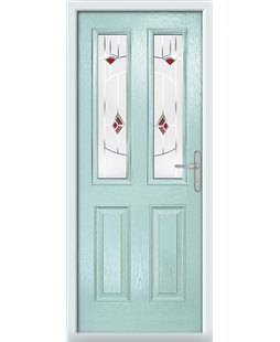 The Cardiff Composite Door in Blue (Duck Egg) with Red Murano