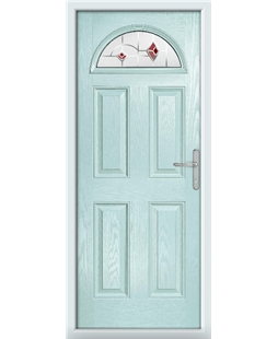 The Derby Composite Door in Blue (Duck Egg) with Red Murano