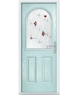 The Edinburgh Composite Door in Blue (Duck Egg) with Red Murano