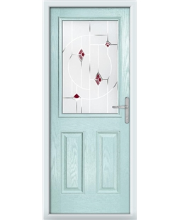 The Farnborough Composite Door in Blue (Duck Egg) with Red Murano