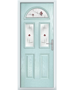 The Glasgow Composite Door in Blue (Duck Egg) with Red Murano