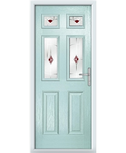 The Oxford Composite Door in Blue (Duck Egg) with Red Murano