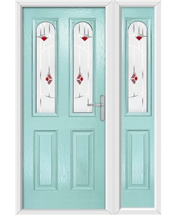 The Aberdeen Composite Door in Blue (Duck Egg) with Red Murano and matching Side Panel
