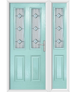 The Cardiff Composite Door in Blue (Duck Egg) with Simplicity and matching Side Panel