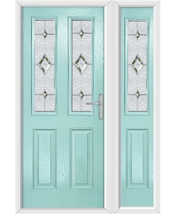 The Cardiff Composite Door in Blue (Duck Egg) with Crystal Diamond and matching Side Panel