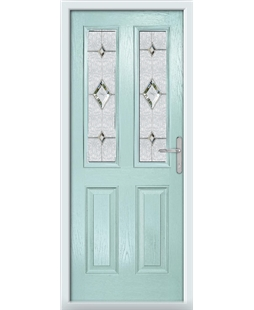 The Cardiff Composite Door in Blue (Duck Egg) with Crystal Diamond