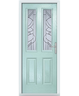 The Cardiff Composite Door in Blue (Duck Egg) with Zinc Art Abstract