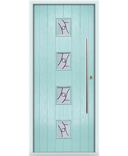 The Leicester Composite Door in Blue (Duck Egg) with Zinc Art Abstract