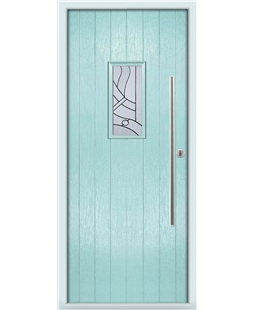 The Zetland Composite Door in Blue (Duck Egg) with Zinc art Abstract