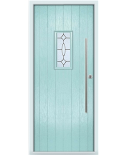 The Zetland Composite Door in Blue (Duck Egg) with Zinc Art Clarity