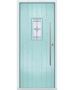 The Zetland Composite Door in Blue (Duck Egg) with Zinc Art Elegance