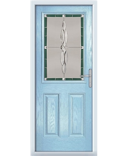 The Farnborough Composite Door in Blue (Duck Egg) with Green Luxury Crystal
