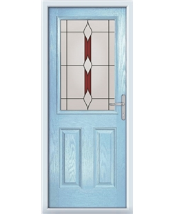 The Farnborough Composite Door in Blue (Duck Egg) with Red Barcelona