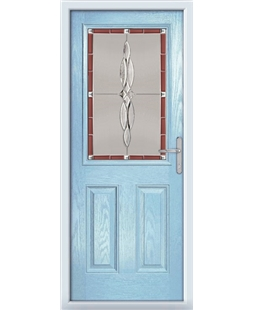 The Farnborough Composite Door in Blue (Duck Egg) with Red Luxury Crystal