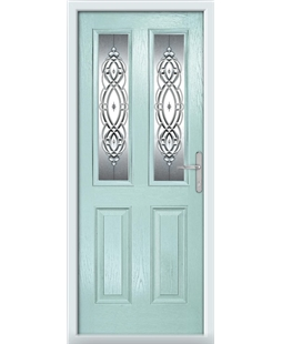The Cardiff Composite Door in Blue (Duck Egg) with Reflections