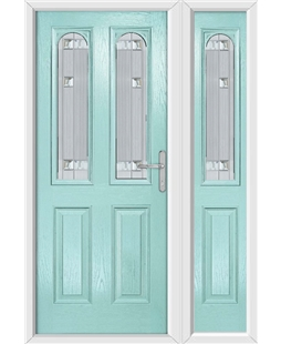 The Aberdeen Composite Door in Blue (Duck Egg) with Milan Glazing and Matching Side Panel