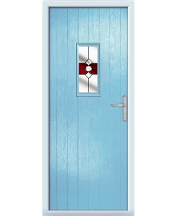 The Taunton Composite Door in Blue (Duck Egg) with Red Crystal Bohemia