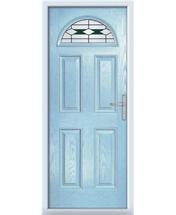 The Derby Composite Door in Blue (Duck Egg) with Green Barcelona