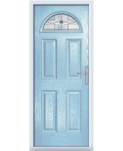 The Derby Composite Door in Blue (Duck Egg) with Green Daventry