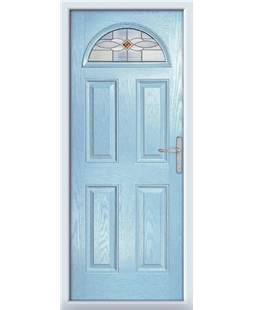 The Derby Composite Door in Blue (Duck Egg) with Red Daventry