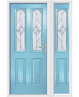 The Aberdeen Composite Door in Blue (Duck Egg) with Eclipse Glazing and Matching Side Panel