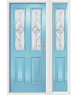 The Cardiff Composite Door in Blue (Duck Egg) with Eclipse Glazing and Matching Side Panel
