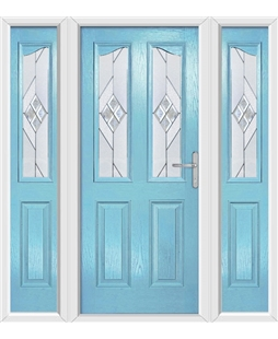The Birmingham Composite Door in Blue (Duck Egg) with Eclipse Glazing and matching Side Panels