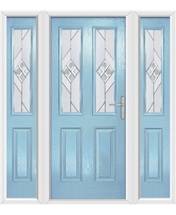 The Cardiff Composite Door in Blue (Duck Egg) with Eclipse Glazing and matching Side Panels