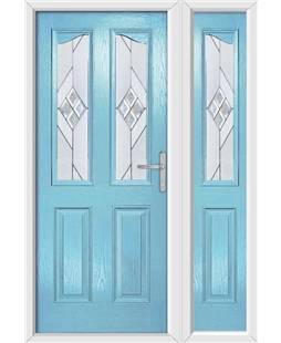 The Birmingham Composite Door in Blue (Duck Egg) with Eclipse Glazing and Matching Side Panel
