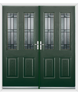 Jacobean French Rockdoor in Emerald Green with Apollo