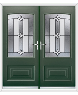 Portland French Rockdoor in Emerald Green with Apostle Glazing