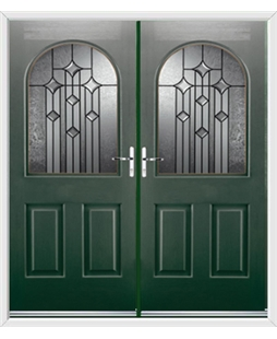 Kentucky French Rockdoor in Emerald Green with Aquarius Glazing