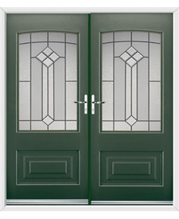 Portland French Rockdoor in Emerald Green with Beacon