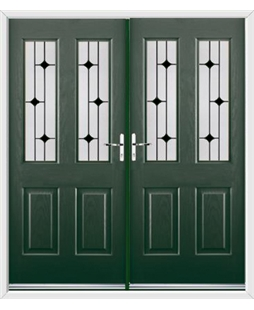 Jacobean French Rockdoor in Emerald Green with Black Diamonds