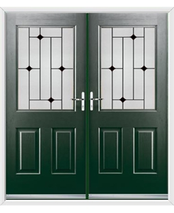 Windsor French Rockdoor in Emerald Green with Glazing