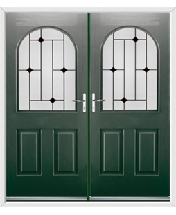 Kentucky French Rockdoor in Emerald Green with Black Diamonds