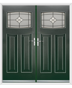 Newark French Rockdoor in Emerald Green with Bright Star Glazing