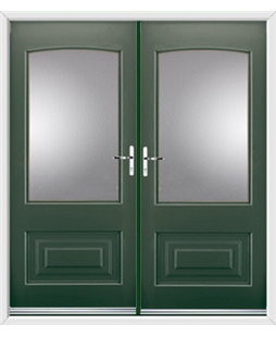 Portland French Rockdoor in Emerald Green with Glazing