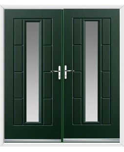 Vermont French Rockdoor in Emerald Green with Glazing