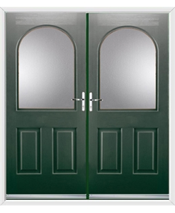 Kentucky French Rockdoor in Emerald Green with Glazing